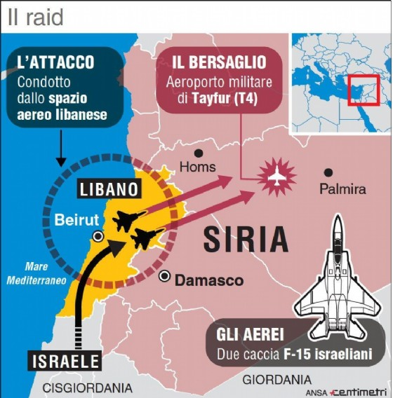 Nell'infografica realizzata da Centimetri i dettagli del raid contro la base aerea di Tayfur