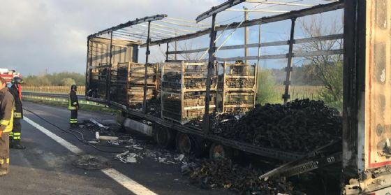 Incendio in autostrada: camion prende fuoco, autista illeso