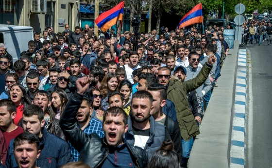 """Some protesters chanted """"Armenia without Serzh"""" and """"Serzh is a liar"""""""