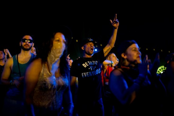 Fans at the Coachella music festival in California taking in a performance Sunday by Eminem in one of his first concerts in a year