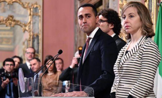 Giulia Grillo con Luigi Di Maio e Danilo Toninelli.