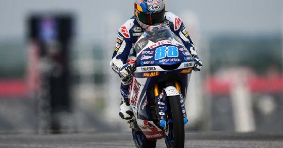 Jorge Martin in sella alla Honda del team Gresini Moto3 nelle prove libere ad Austin