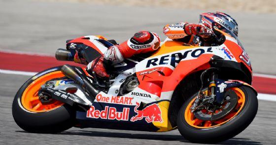 Marc Marquez in sella alla sua Honda durante il GP delle Americhe di Austin