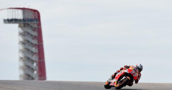 Marc Marquez in sella alla sua Honda durante le prove del GP delle Americhe di Austin