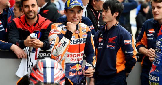Marc Marquez festeggia il suo risultato nel GP delle Americhe di MotoGP ad Austin