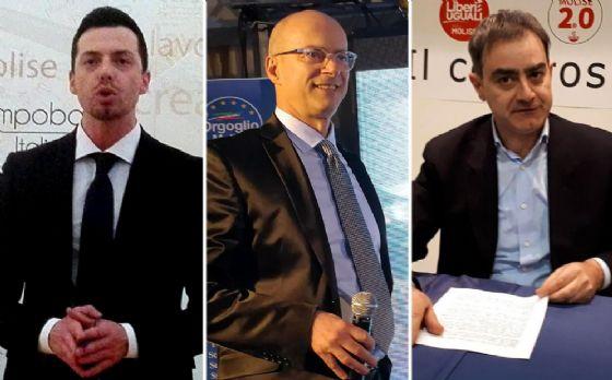 Da sinistra, i candidati presidenti alla Regione Molise: Andrea Greco (M5S), Donato Toma (centrodestra) e Carlo Veneziale (PD)