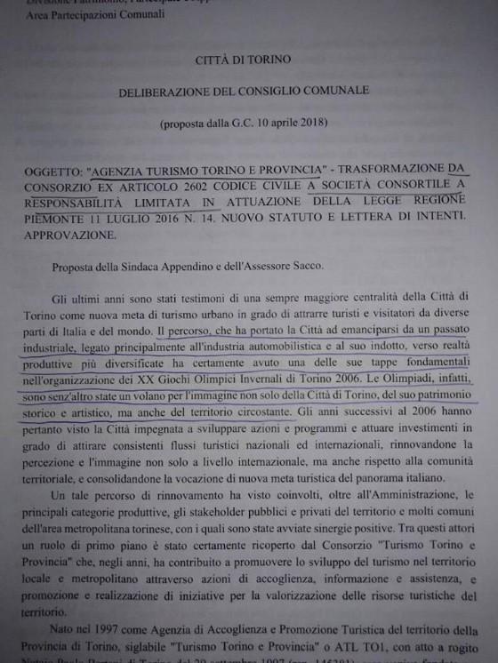 Uno stralcio della delibera di Appendino inerente la trasformazione della partecipata Turismo Torino in Srl