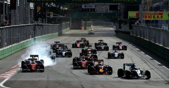 La partenza del Gran Premio dell'Azerbaigian 2017 di Formula 1
