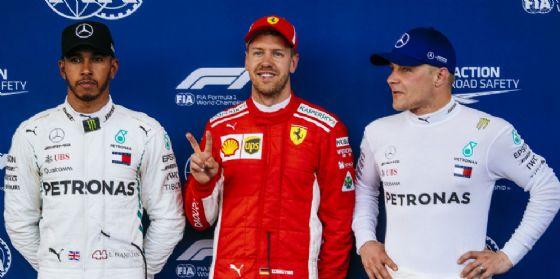 Il podio delle qualifiche del GP dell'Azerbaigian di F1: Sebastian Vettel, Lewis Hamilton e Valtteri Bottas