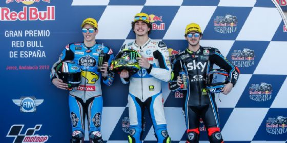 La prima fila del GP di Spagna di Moto2: Lorenzo Baldassarri, Alex Marquez e Pecco Bagnaia