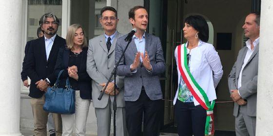 Il governatore Massimiliano Fedriga e il sindaco Anna Maria Cisint oggi alla cerimonia di inaugurazione del Municipio di Monfalcone (© Regione Friuli Venezia Giulia)