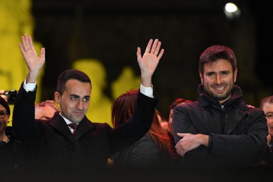 Luigi Di Maio e Alessandro Di Battista chiudono la campagna elettorale. Roma, 2 marzo2018