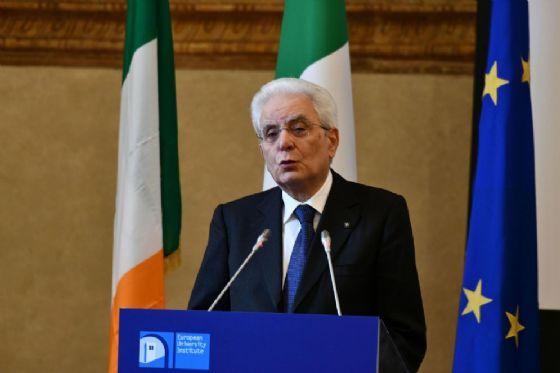 Il presidente Mattarella al convegno The state of the Union di Firenze