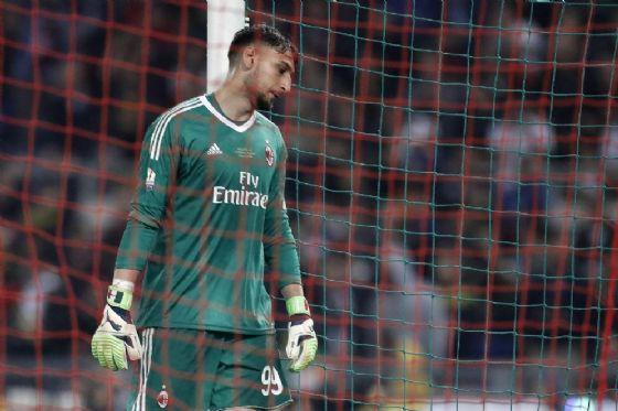 Donnarumma dopo il quarto gol della Juve in finale di Coppa Italia