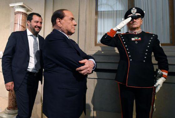 Silvio Berlusconi con Matteo Salvini al Quirinale