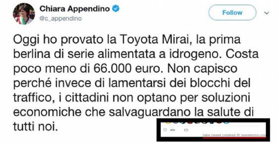 Tweet fasullo della sindaca Chiara Appendino