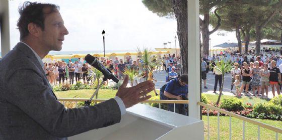 L'intervento del governatore del Fvg Massimiliano Fedriga alla cerimonia di apertura della stagione balneare di Grado