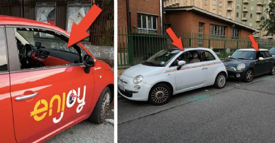 Le auto danneggiate in via Montano