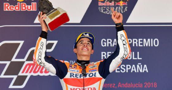 Marc Marquez sul gradino più alto del podio del GP di Spagna di MotoGP a Jerez