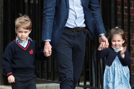 Princess Charlotte (R), pictured in April 2018 with her brother Prince George (L) with their father Prince William, will be a bridesmaid