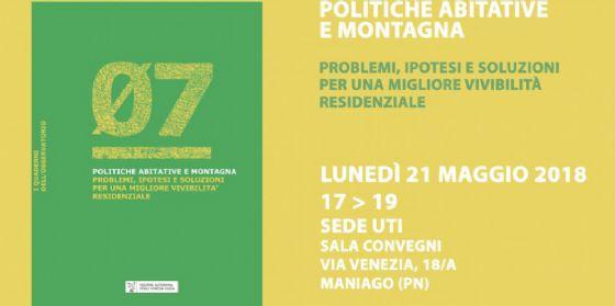 Montagna: a Maniago la presentazione del quaderno sulla vivibilità residenziale