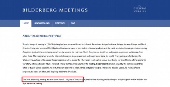 L'annuncio ufficiale sul sito del gruppo Bilderberg