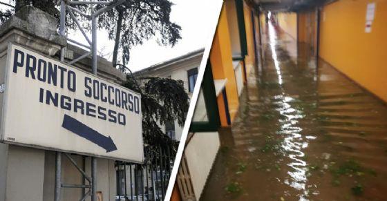 L'ospedale Molinette allagato dopo l'acquazzone di questo pomeriggio (© Diario di Torino)