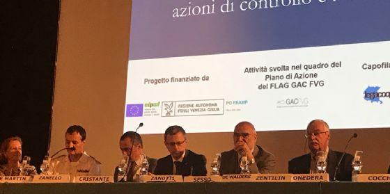 """Il tavolo dei relatori al convegno """"La sicurezza alimentare dei molluschi bivalvi  in Fvg: azioni di controllo e autocontrollo"""""""