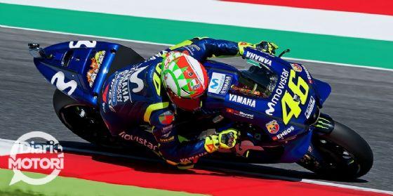 Valentino Rossi in pista con la Yamaha nelle qualifiche del GP del Mugello di MotoGP