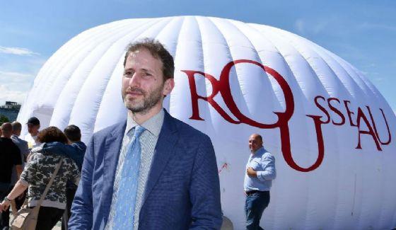 Davide Casaleggio durante l'inaugurazione di Rousseau City Lab