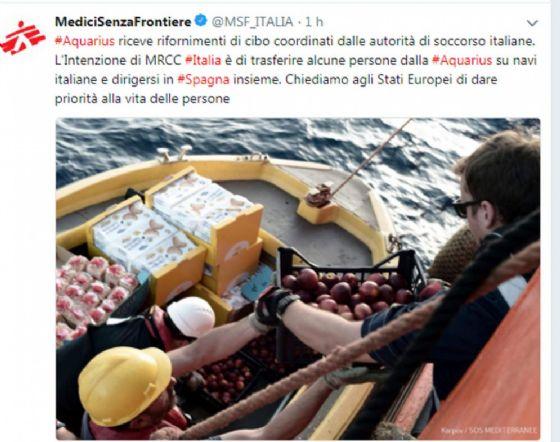 Il post su Twitter di Medici Senza Frontiere sulla nave Aquarius