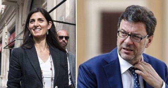 Virginia Raggi e Giancarlo Giorgetti