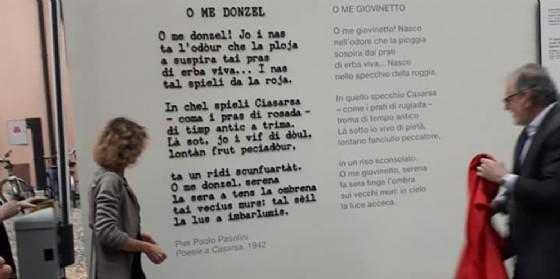 """L'inaugurazione della poesia muraria """"O me donzel"""""""