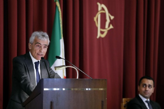 Tito Boeri, presidente dell'INPS, e Luigi Di Maio, ministro del Lavoro e delle Politiche Sociali, durante la relazione annuale dell'INPS, Camera dei Deputati,