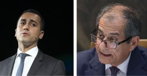 Il ministro del Lavoro e dello Sviluppo economico Luigi Di Maio e quello dell'Economia Giovanni Tria