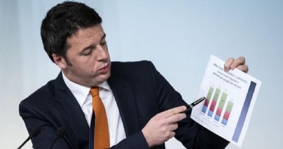 Matteo Renzi durante la conferenza stampa sul jobs act del 24 dicembre 2014