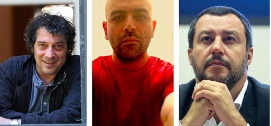 Gli scrittori Sandro Veronesi e Roberto Saviano, e il ministro dell'Interno Matteo Salvini