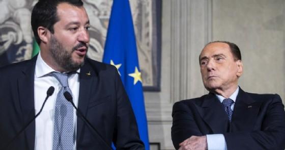 Il segretario della Lega e ministro dell'Interno Matteo Salvini con Silvio Berlusconi