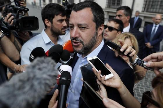 Matteo Salvini, vice presidente del Consiglio e ministro dell'Interno lascia Palazzo Chigi dopo il vertice con il premier Giuseppe Conte