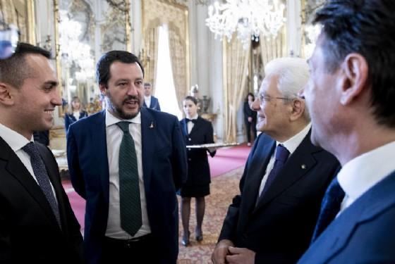 Luigi Di Maio, Matteo Salvini, Sergio Mattarella e Giuseppe Conte