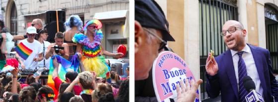 Un momento del Gay Pride a Bologna e accanto il ministro della Famiglia Lorenzo Fontana