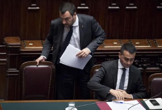 I vice premier e ministri Luigi di Maio e Matteo Salvini, nel corso del question time alla Camera dei Deputati a Roma