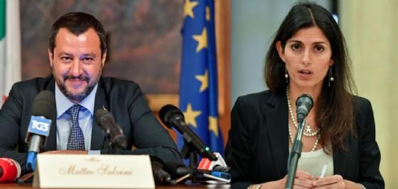 Matteo Salvini e Virginia Raggi