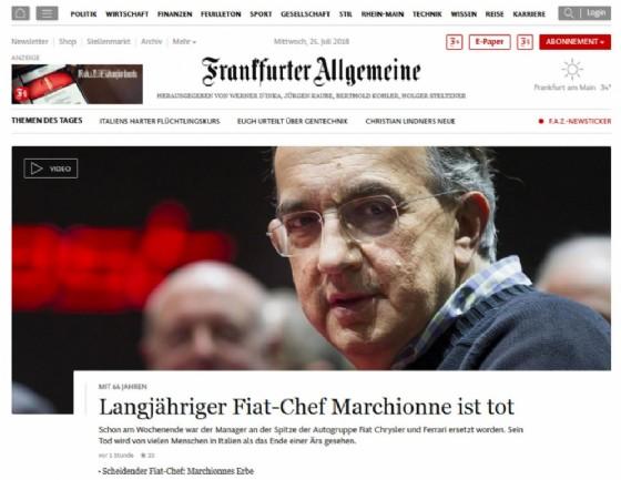 La notizia della morte di Sergio Marchionne sul sito della Frankfurter Allgemeine