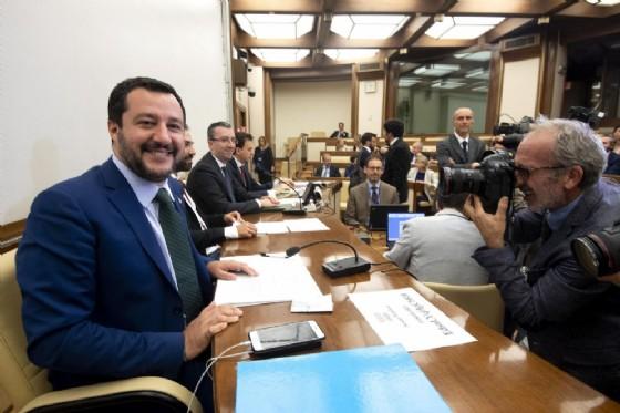 Matteo Salvini durante l'audizione in Commissione Affari Costituzionali Camera e Senato. Roma, 25 luglio 2018