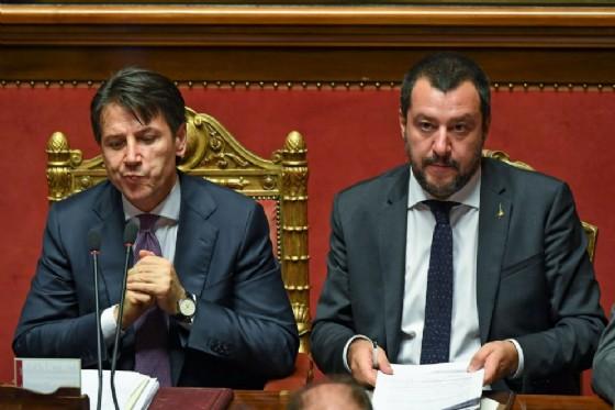 Matteo Salvini con Giuseppe Conte nell'aula del Senato. Roma 27 giugno 2018