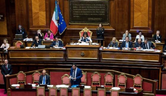 Il ministro dell'Interno e vicepremier Matteo Salvini durante il question time al Senato