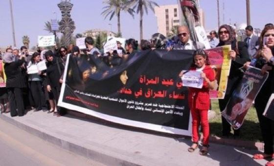 Una protesta della Ong Hrw