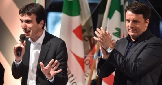 Maurizio Martina con l'ex Premier, Matteo Renzi
