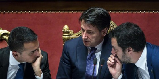 Luigi Di Maio con il Premier Conte e Matteo Salvini